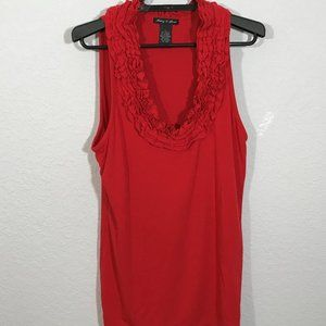 Audrey & Grace VINTAGE Bright Red Ruffled Tank Top